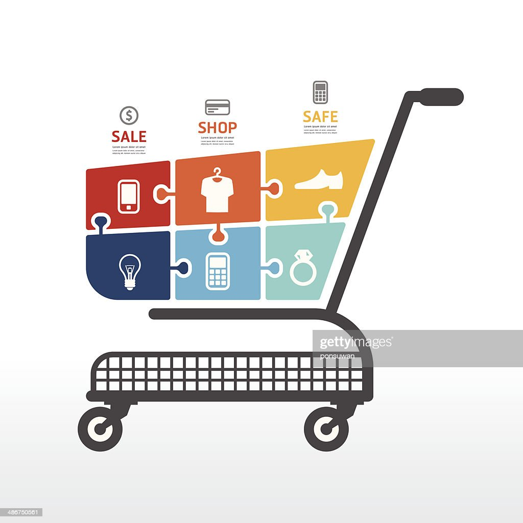 infographic Template with Shopping cart  jigsaw banner .