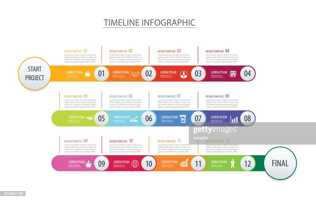 Infographic timeline 1 year template business concept arrows.Vector can be used for workflow layout, diagram, number step up options, web design