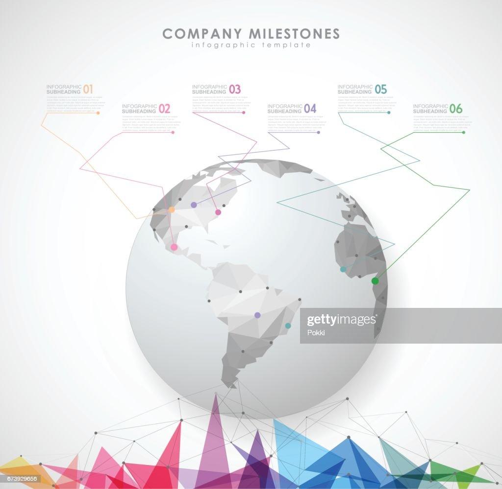 Infografik Zeitachse Vorlage Mit Polygonalen Globus Vektorgrafik ...