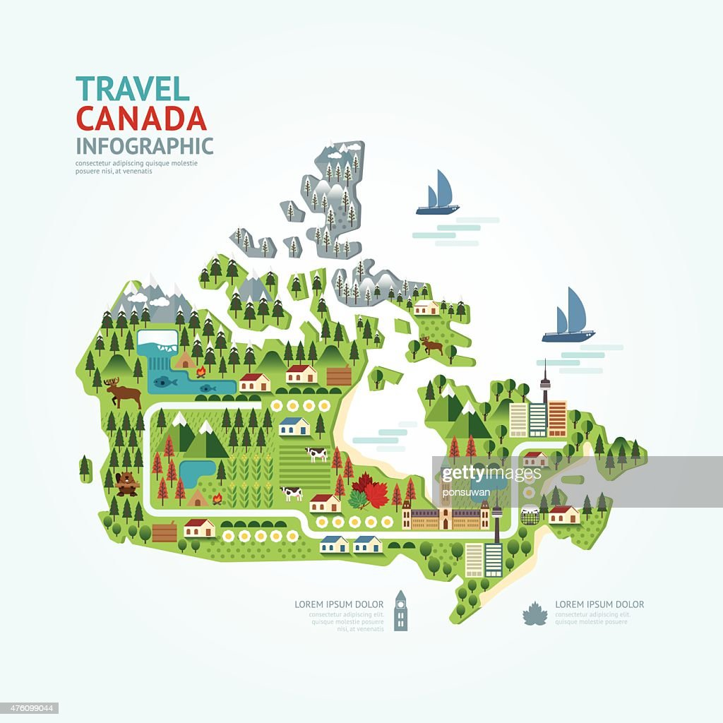 Infographic travel and landmark canada map shape template design