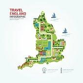 Infographic travel and landmark England,United Kingdom map shape