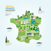 Infographic travel and landmark france map shape template design