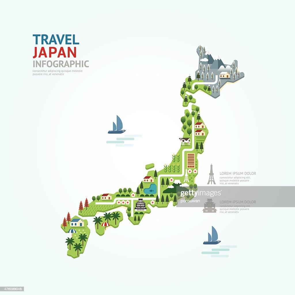 Infographic travel and landmark japan map shape template design.
