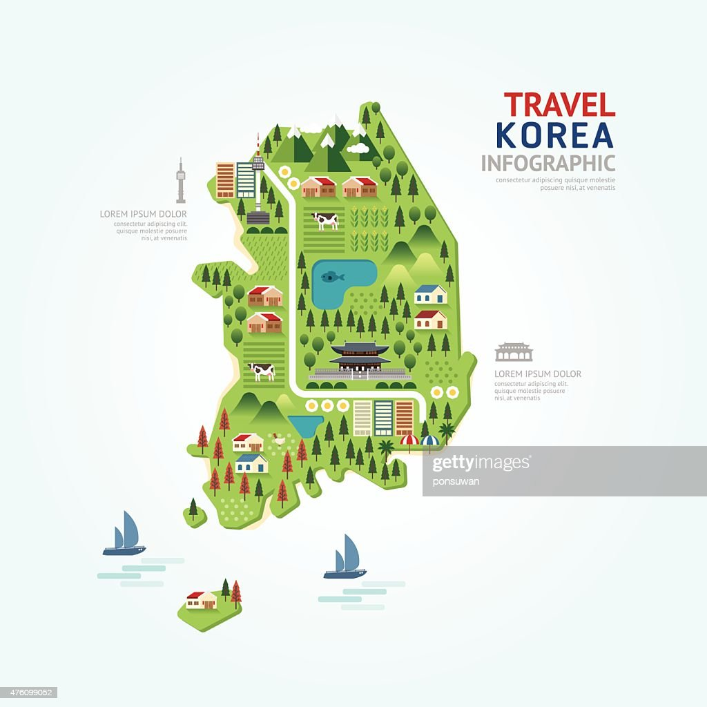 Infographic travel and landmark korea map shape template design.