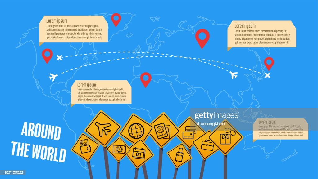 Infographic Traveling together in map concept. Young travelers flying plane around the world. Adventure in foreign countries.
