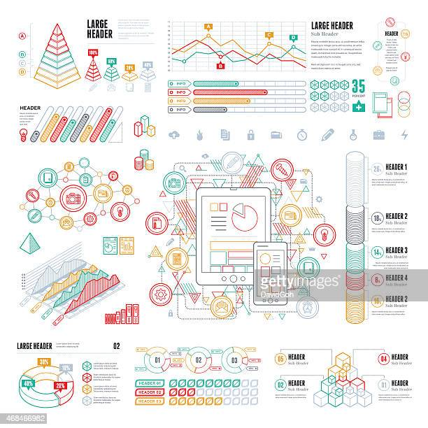 Infographic UI line elements in many colors
