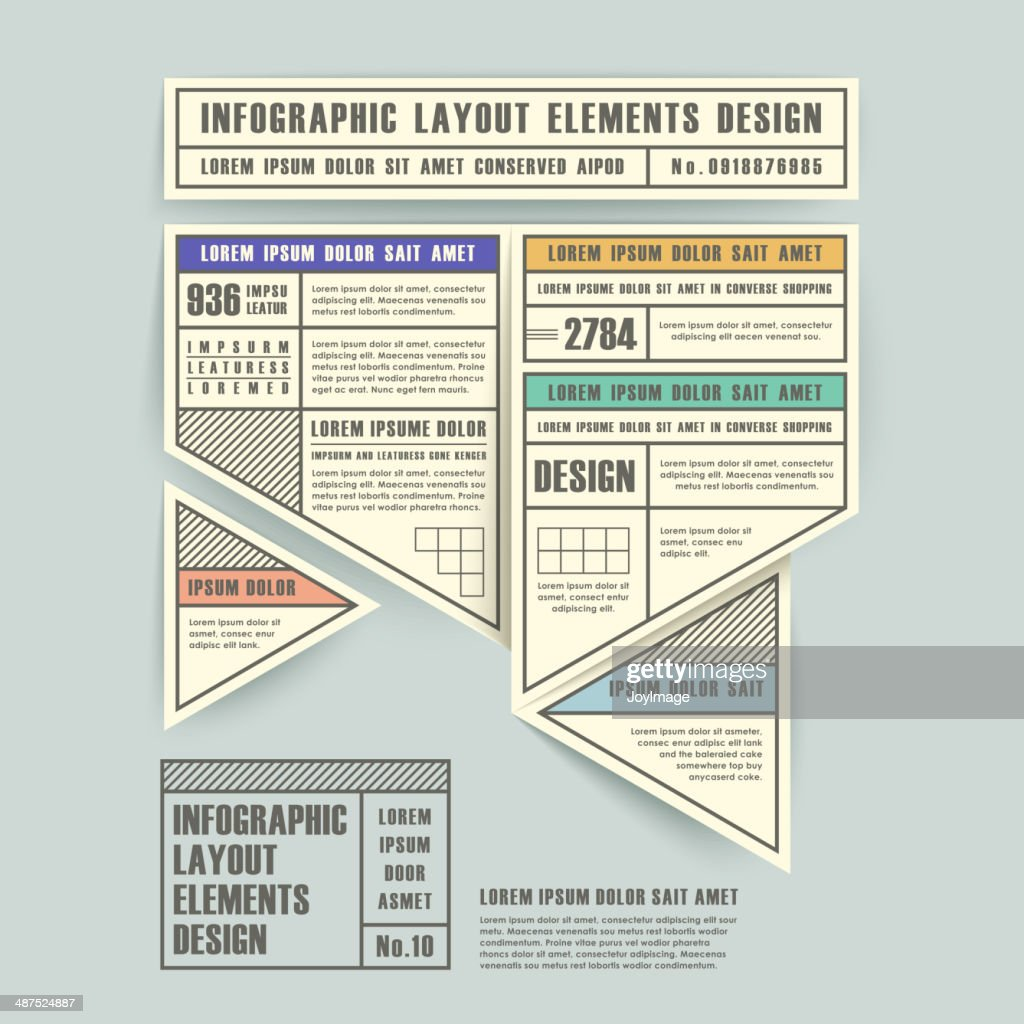 infographic vector elements with origami label style
