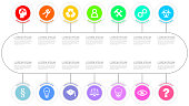 Infographic vector template for business presentation, diagram, workflow concept with 14 options