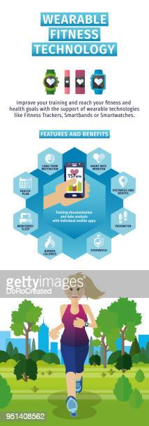 インフォ グラフィック ウェアラブルフィットネス技術 - エウロパ点のイラスト素材/クリップアート素材/マンガ素材/アイコン素材