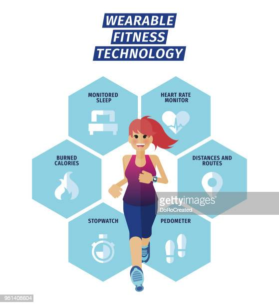 infographic wearable fitness technology - only women stock illustrations