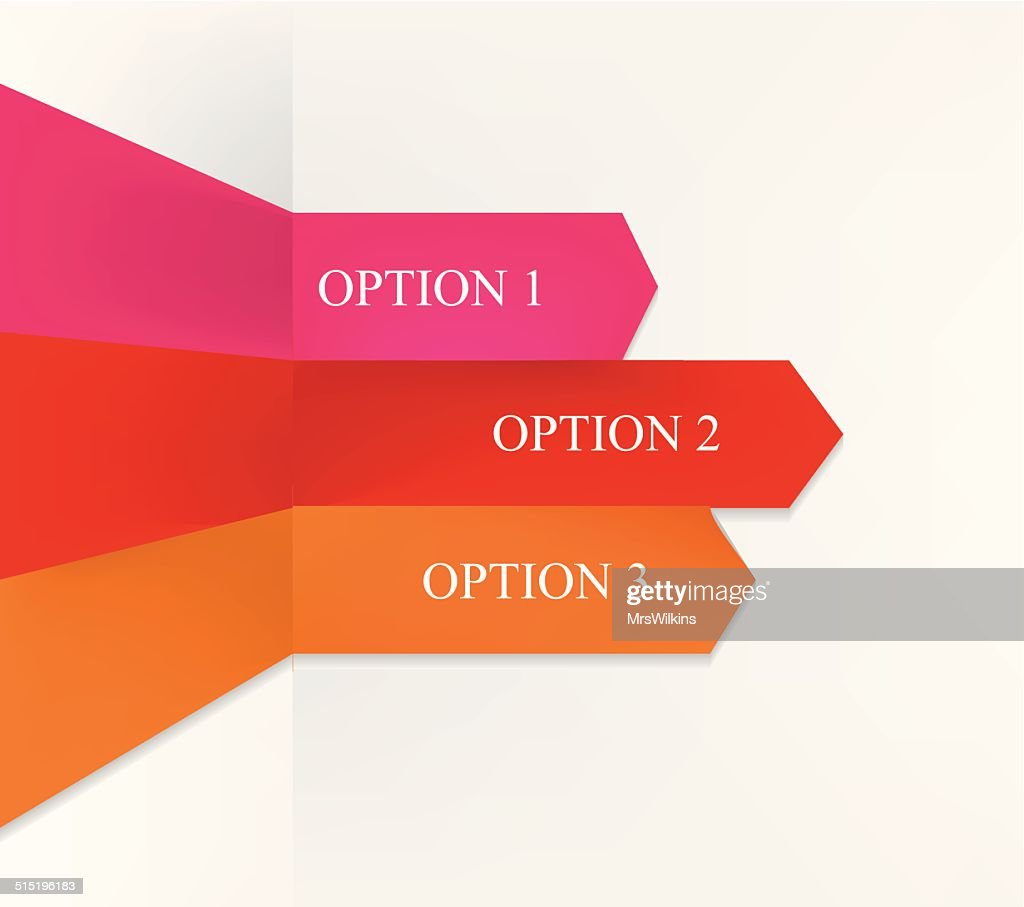 Info-graphic with three origami option arrows - red, pink, orange