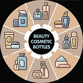 Infographic_set of beauty cosmetic bottles
