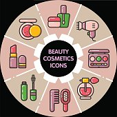 Infographic_set of beauty cosmetic icons