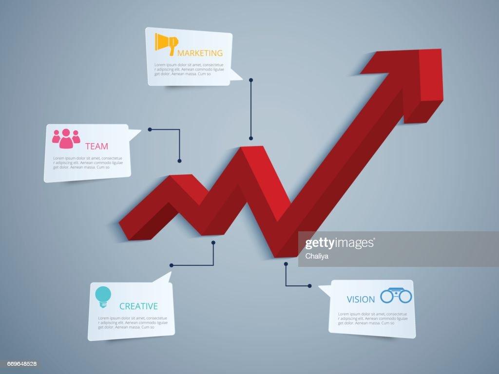 Infografiken 3d Wachstum Diagramm Erfolgreiches Konzeptdesign ...