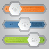 Infographics background with hexagon elements and cloud icons
