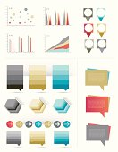 Infographics collection. Set of speech bubbles, graphs and arrows.