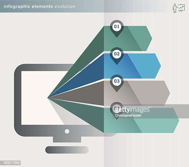 infographics elements – evolution series – labels - Illustration