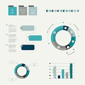 Infographics elements. Folder with diagrams, speech bubbles and chart.
