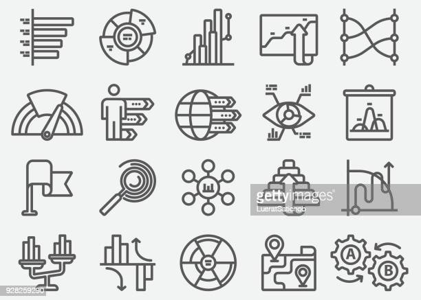 infographics elements line icons - stock certificate stock illustrations