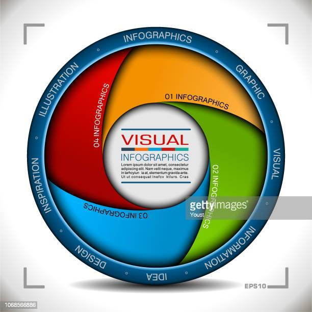 infographics in camera aperture style - aperture stock illustrations, clip art, cartoons, & icons