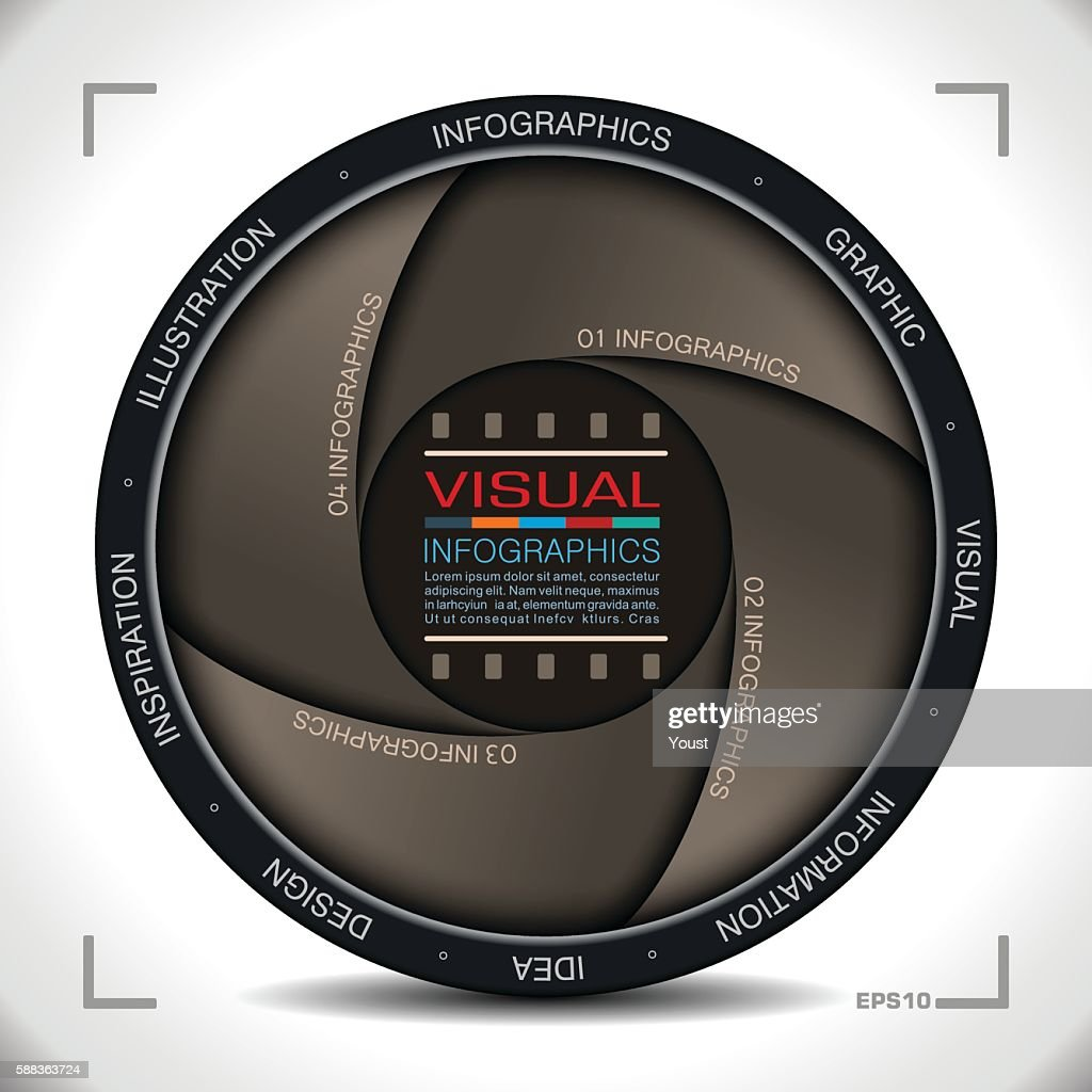 Infographics in Camera Aperture Style : stock illustration