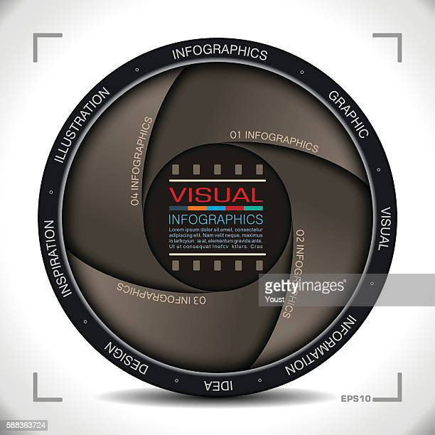 infographics in camera aperture style - video camera stock illustrations, clip art, cartoons, & icons
