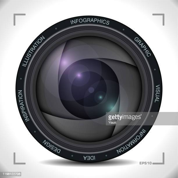 infographics in camera lens style - movie camera stock illustrations
