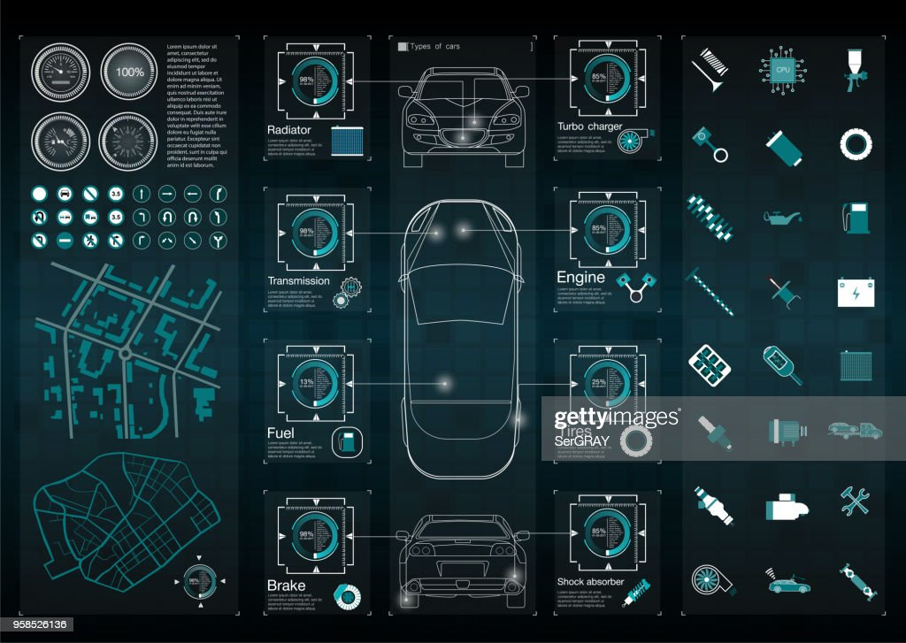 Infographics of freight transport and transportation.Template of automobile infographics. Abstract virtual graphic touch user interface. Cars diagnostic.