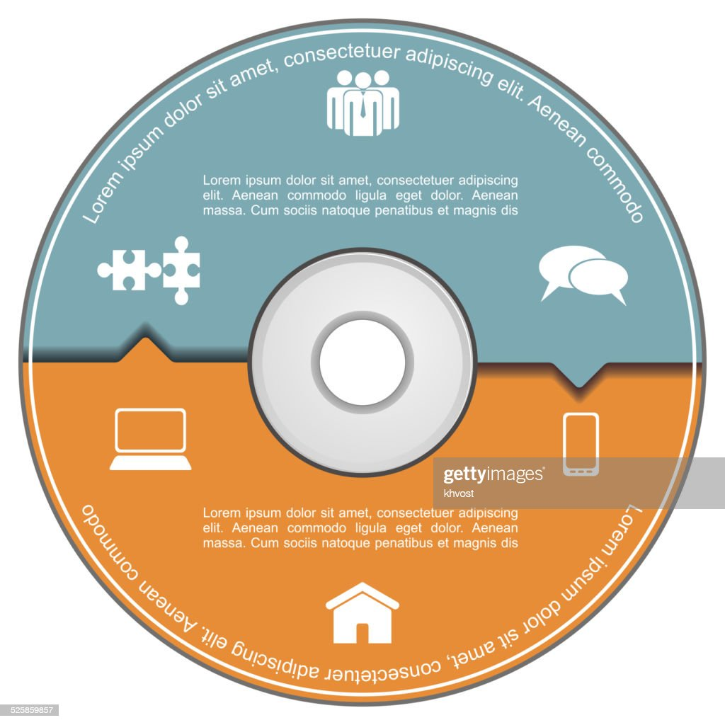 Infographics template with compact disk.
