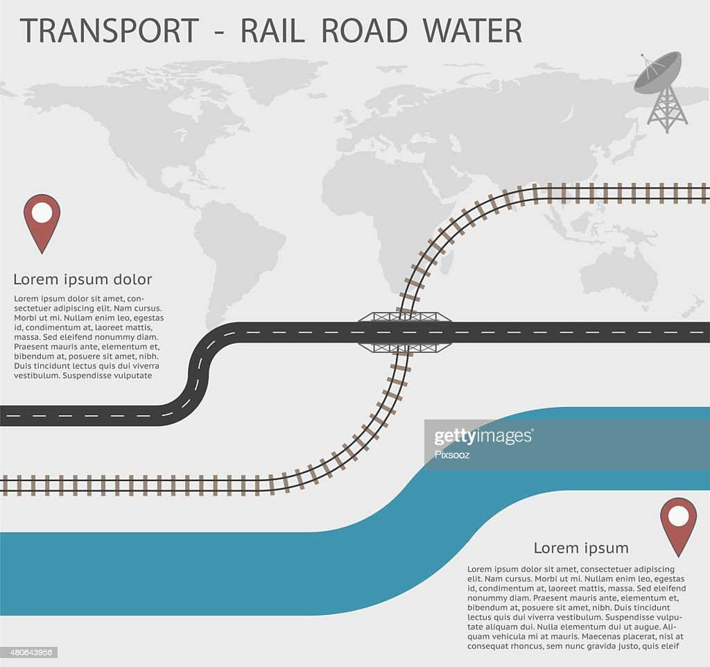 Infographics Transport for Rail Road and Water EPS10