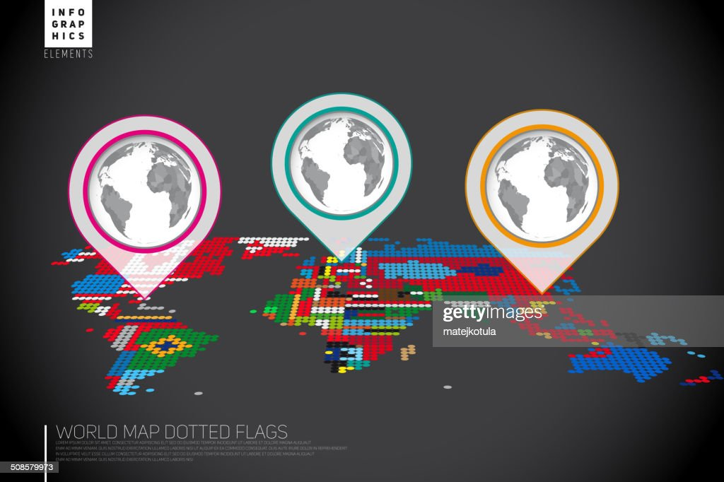 Infographics World map from dots with pointer marks : Vector Art