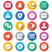 Information and notification flat color icons