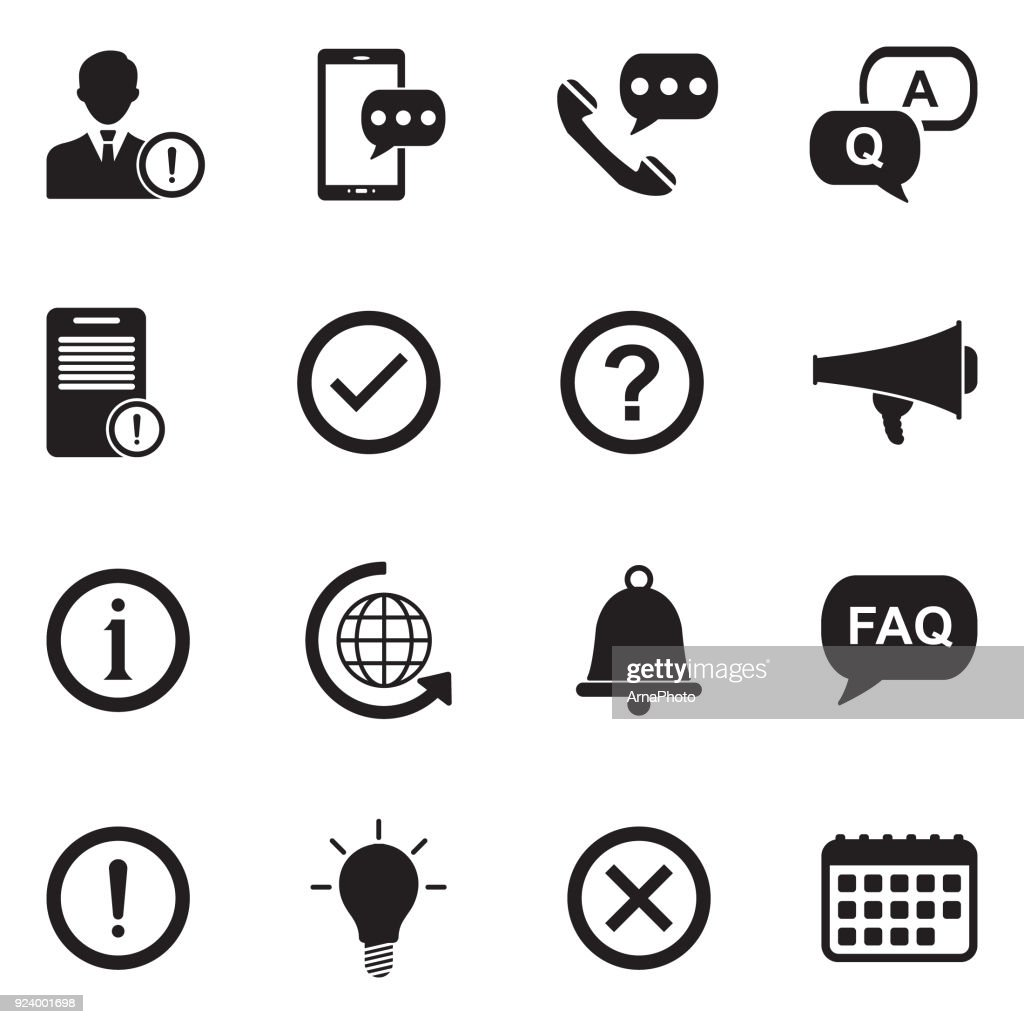 Information And Notification Icons. Black Flat Design. Vector Illustration.