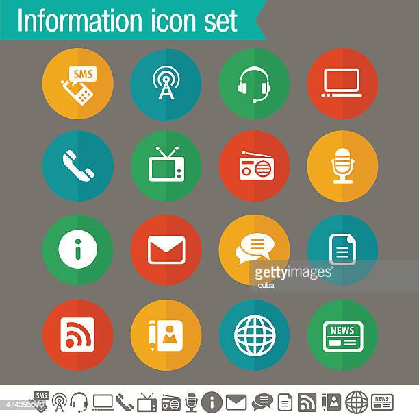 Information icons | Flat colored circles collection