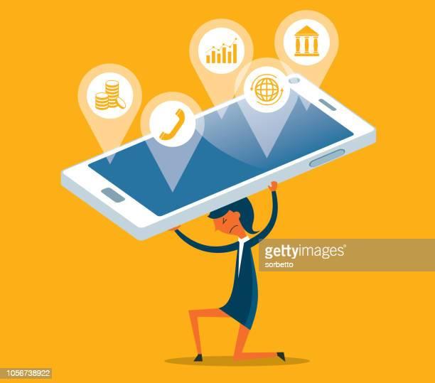 Information overload - businesswoman