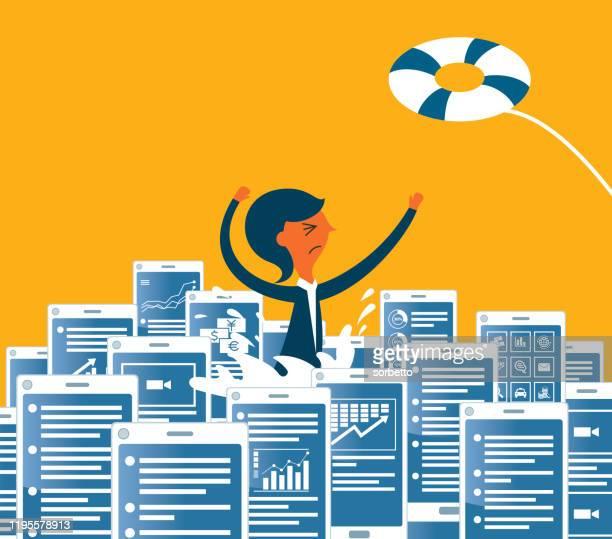 information overload - businesswoman - information overload stock illustrations