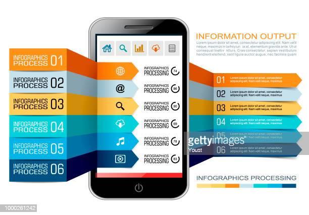 ilustrações, clipart, desenhos animados e ícones de informações de processamento com smartphones e tablets - número 6