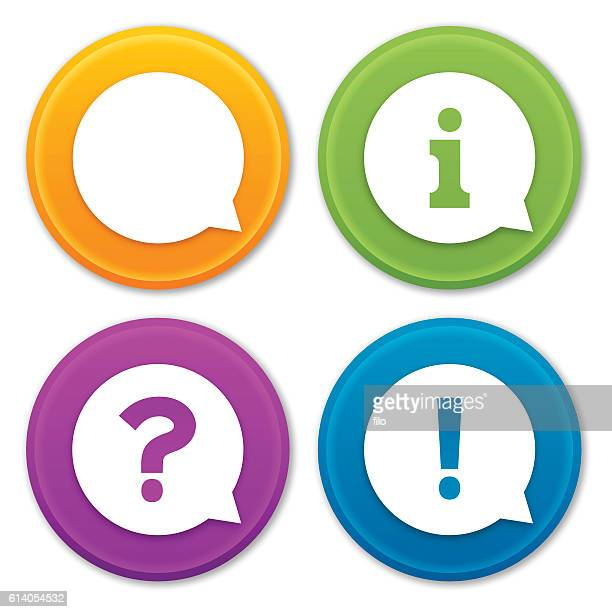 information questions and comments icons and symbols - exclamation mark stock illustrations