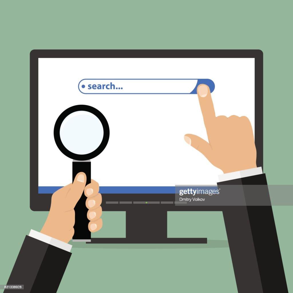 Informações pesquisa string no monitor com a mão e ampliação de vidro na mão : Ilustração