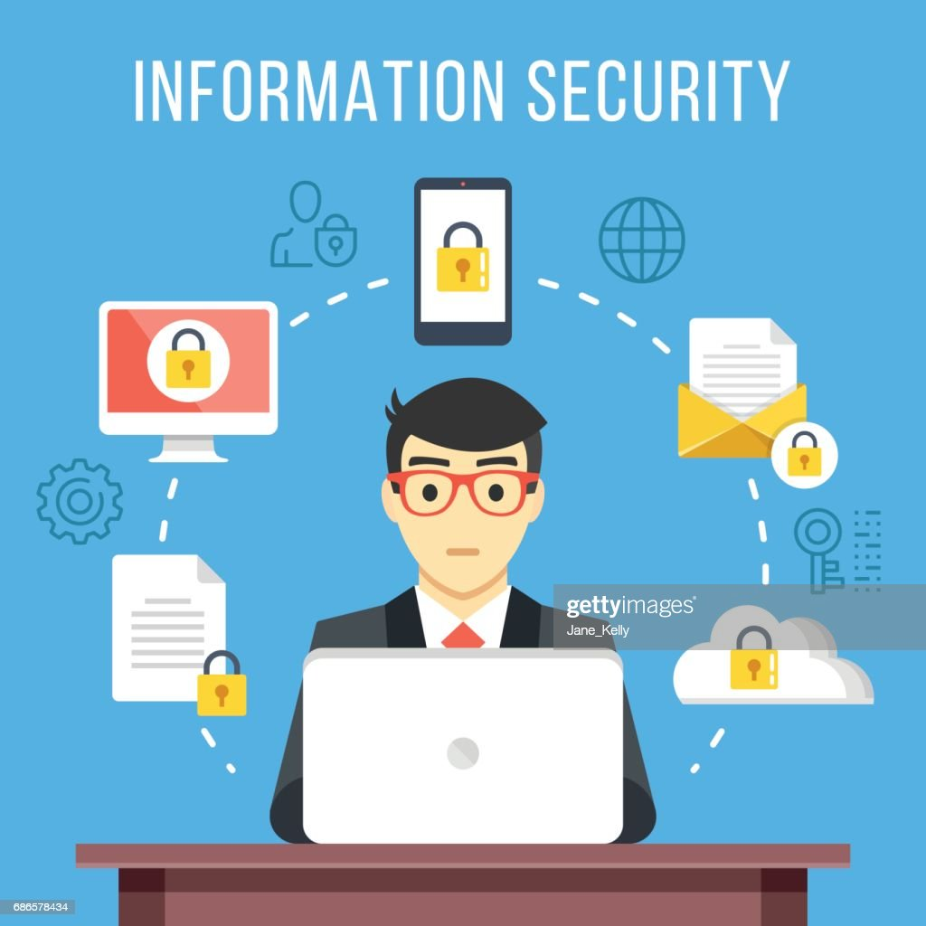 Information security, data protection concept. Man at computer at work. Flat icons, thin line icons set, modern flat design graphic elements. Vector illustration