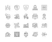 Information security line icons, signs, vector set, outline illustration concept