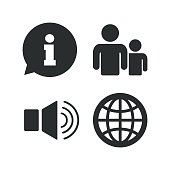 Information sign and group. Communication icons
