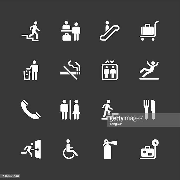 information sign icons - regular - white series - exit sign stock illustrations