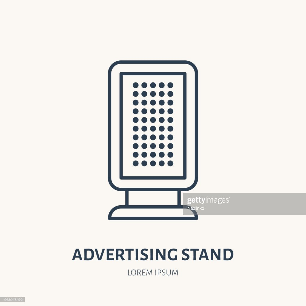 Information stand flat line icon. Outdoor advertising sign. Thin linear logo for street ads, marketing services