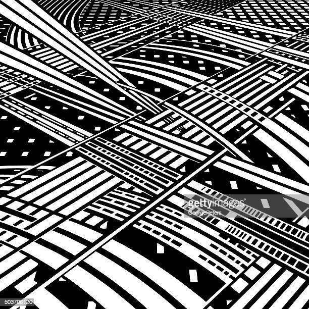 information super highway - overpass road stock illustrations