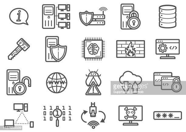 illustrazioni stock, clip art, cartoni animati e icone di tendenza di information technology clipart vettori e icone di linea set 01 - centro elaborazione dati