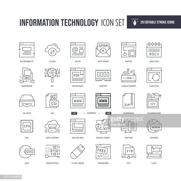 information technology editable stroke line icons - encryption stock illustrations