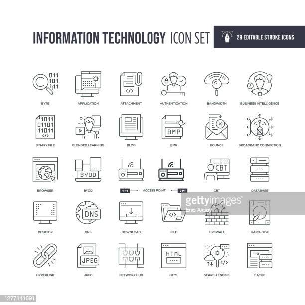 information technology editable stroke line icons - hard drive stock illustrations