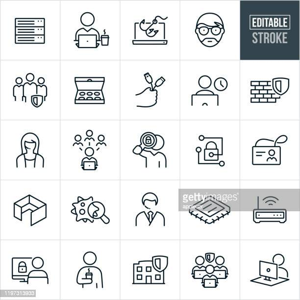 information technology thin line icons - editable stroke - firewall stock illustrations