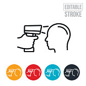 Infrared Thermometer Thin Line Icon - Editable Stroke